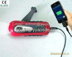 hand-cranking dynamo flashlight with phone charger