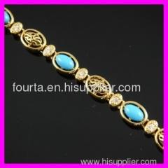 FJ 18K gold plated zircon and turquoise bracelet IGP