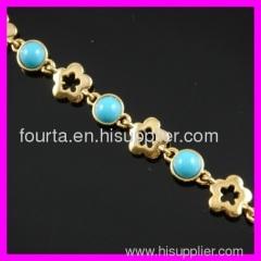 flower shape 18K gold plated turquoise bracelet