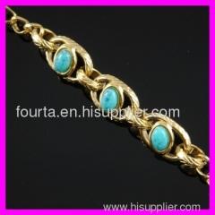 FJ fashion 18K gold plated turquoise bracelet