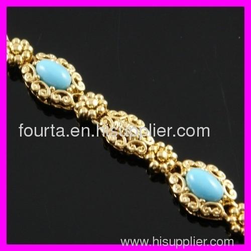 FJ 18K gold plated turquoise bracelet