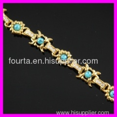 fallon 18K gold plated zircon and turquoise bracelet