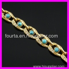 fallon hot 18K gold plated zircon and turquoise bracelet