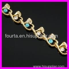 FJ fashion18K gold plated zircon and turquoise bracelet