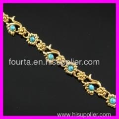 18K gold plated turquoise bracelet