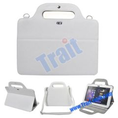 Portable Sachel Style Stand Leather Case for Samsung Galaxy Tab P7510 (White)