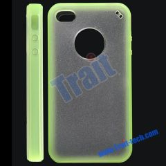 Crystal TPU Hard Case Shell Skin Cover for iPhone 4 (Green + White)