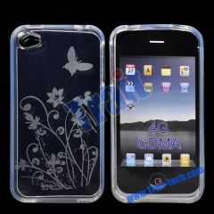 Flower and Butterfly Gel TPU Case for iPhone 4S(Transparent)