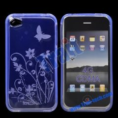Flower and Butterfly Gel TPU Case for iPhone 4S(Blue)
