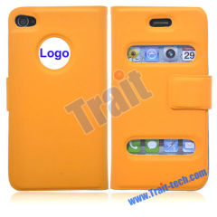 Wholesale iPhone 4 Cases, Fashion Leather Flip Magnetic Closure Case Cover for iPhone 4(Orange)