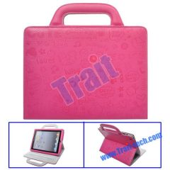 Cute Cartoon Handbag Style Stand Leather Case for iPad 2(Pink)