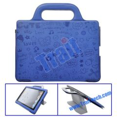 Cute Cartoon Handbag Style Stand Leather Case for iPad 2(Blue)