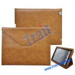 Envelope Style Stand Leather Case for iPad 2(Brown)