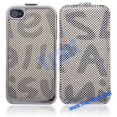 Letters and Dots Pattern Leather Cover with Electroplated Frame for iPhone 4(Beige)