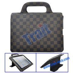LV Pattern Stand Leather Case Handbag Cover for iPad 2
