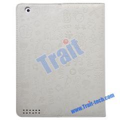 Cute Cartoon Leather Folding Case for iPad 2(White)