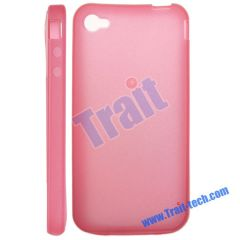 Transparent Soft TPU Case for iPhone 4 (Pink)