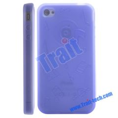 TPU Gel Case Cover for iPhone 4 (Purple)