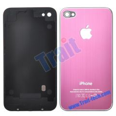 Durable Fashion Battery Cover Back Housing With Logo Apple for iPhone 4(Pink)