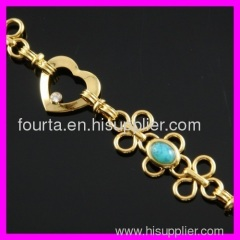 gold plated zircon and turquoise bracelet