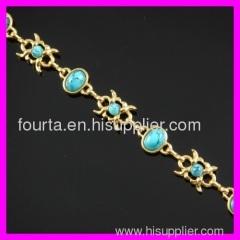 FJ nobby 18K gold plated turquoise bracelet