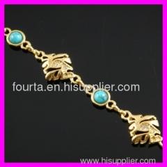 FJ 18K gold plated zircon and turquoise bracelet
