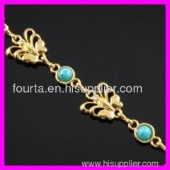 fallon fashion 18K gold plated zircon and turquoise bracelet