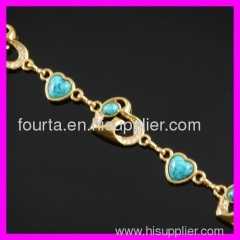 18K gold plated zircon and turquoise bracelet