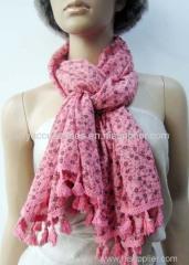 100% cotton fuchsia flower printed woven scarf
