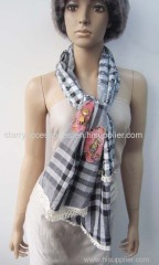 100% cotton embroidered woven scarf