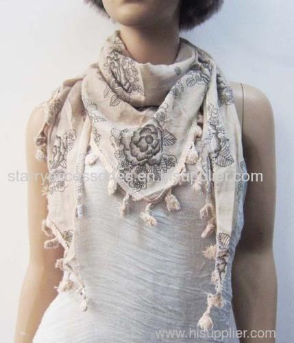 100% cotton flower printed traingle scarf