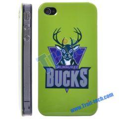 Milwaukee Bucks NBA BasketBall Club Pattern Hard Case for iPhone 4