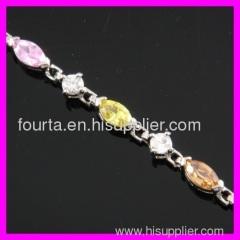 FJ fashion Rhodium plated zircon bracelet