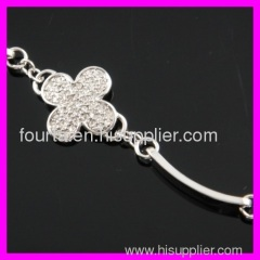FJ Rhodium plated zircon bracelet