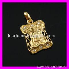 muslim golden plated zircon FJ pendant