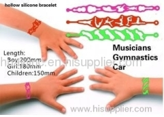 hollow silicone bracelet/tattoo silicone wristband