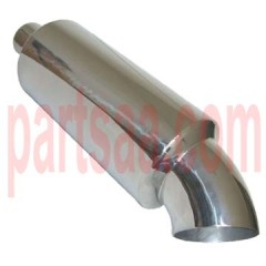 SS 304 stainless steel universal round muffler with bend tip