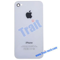 New Arrivals! Glass and Metal Meterial Battery Back Cover, Back Housing for iPhone 4S(White)