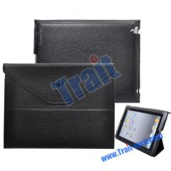 Envelope Style Stand Leather Case for iPad 2(Black)