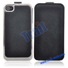 New Leather Cover with Electroplated Frame Hard Case for iPhone 4(Black)