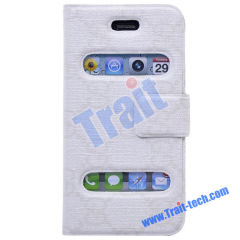 Brand New Design Leather Flip Magnet Closure Case Cover for iPhone 4 Wholesale(White)