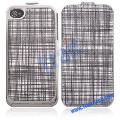 New Check Pattern Leather Cover with Electroplated Frame Case for iPhone 4