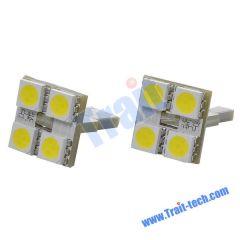 F804 T10 0.8W SMD 4-LED Car Festoon White Light Bulb (Pair/DC12V-17V)