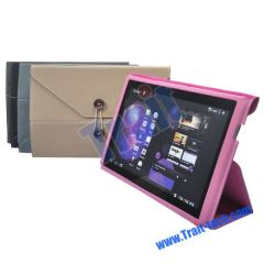 Purse Style Soft Leather Case Stand for Samsung Galaxy Tab P7510