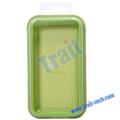 TPU Bumper Case for iPhone 4 (Green and White)