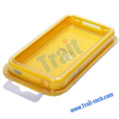 TPU Bumper Case for iPhone 4 (Yellow and White)