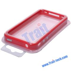 TPU Bumper Case for iPhone 4 (Red and White)