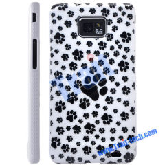 Dog Footprints Skin Plastic Hard Case Cover for Samsung Galaxy S2 i9100 Wholesale