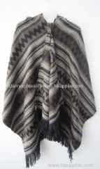 100% acrylic brown knitted poncho