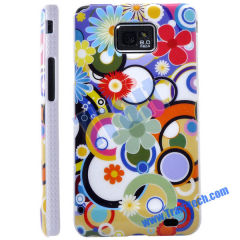 Colorful Flowers and Circles Skin Plastic Hard Case Cover for Samsung Galaxy S2 i9100 Wholesale